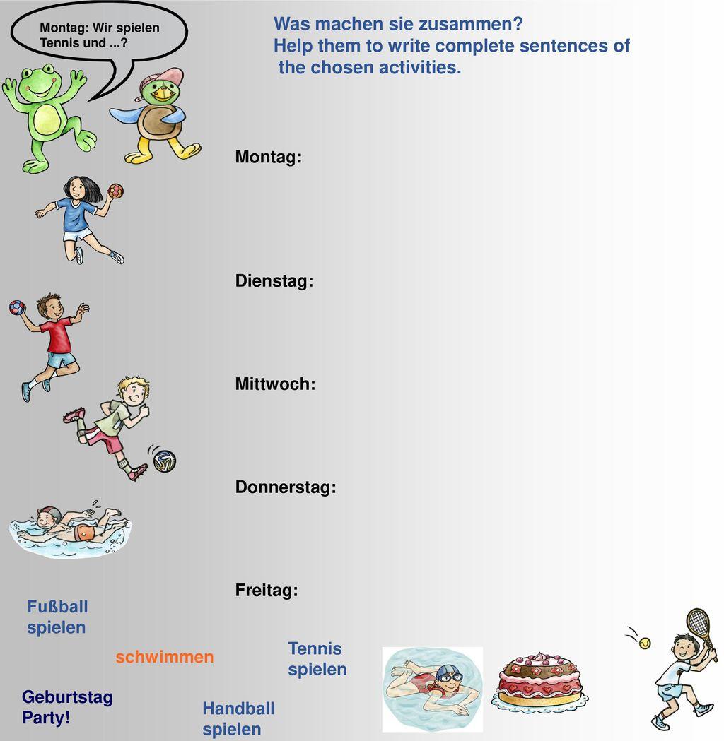 Was machen sie zusammen Help them to write complete sentences of