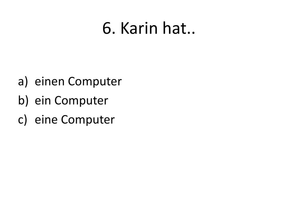 6. Karin hat.. einen Computer ein Computer eine Computer