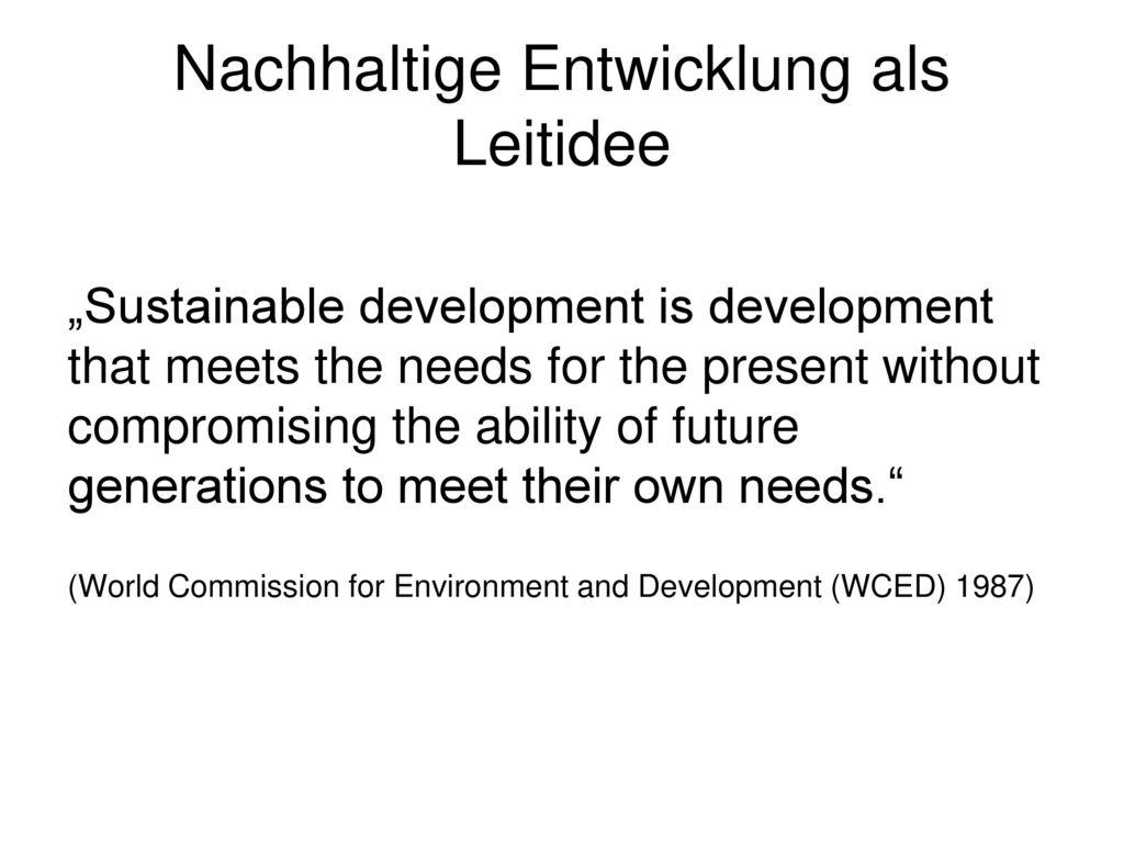 Nachhaltige Entwicklung als Leitidee