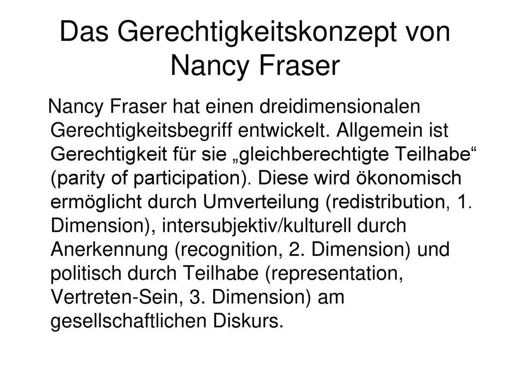 Das Gerechtigkeitskonzept von Nancy Fraser