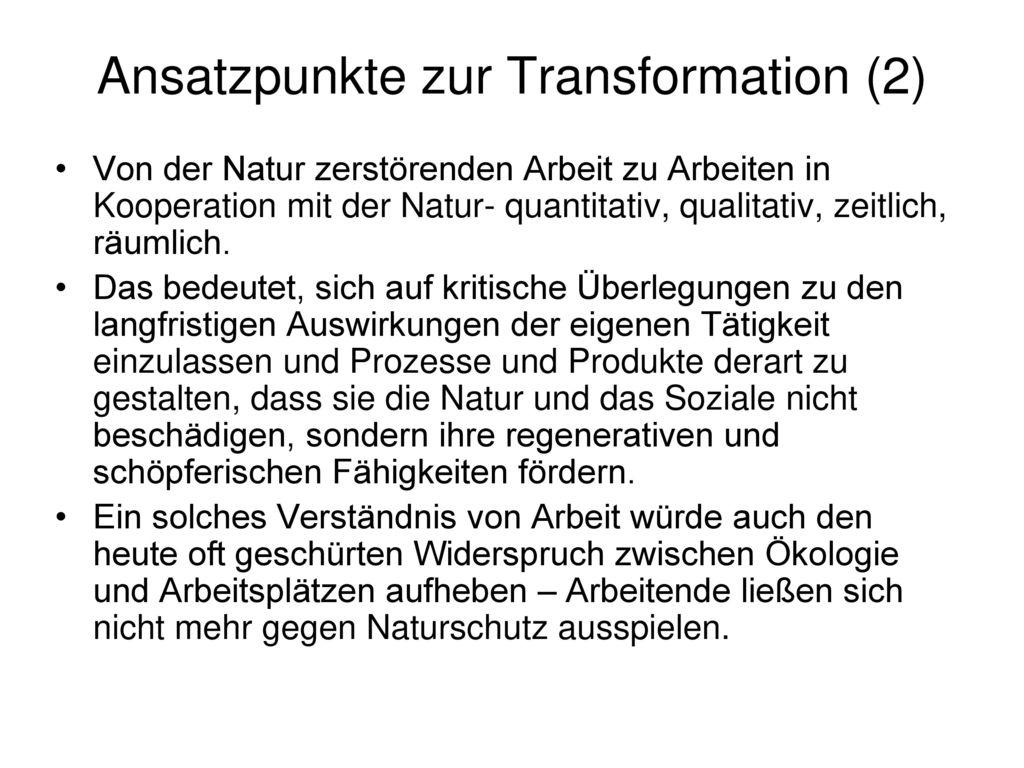 Ansatzpunkte zur Transformation (2)