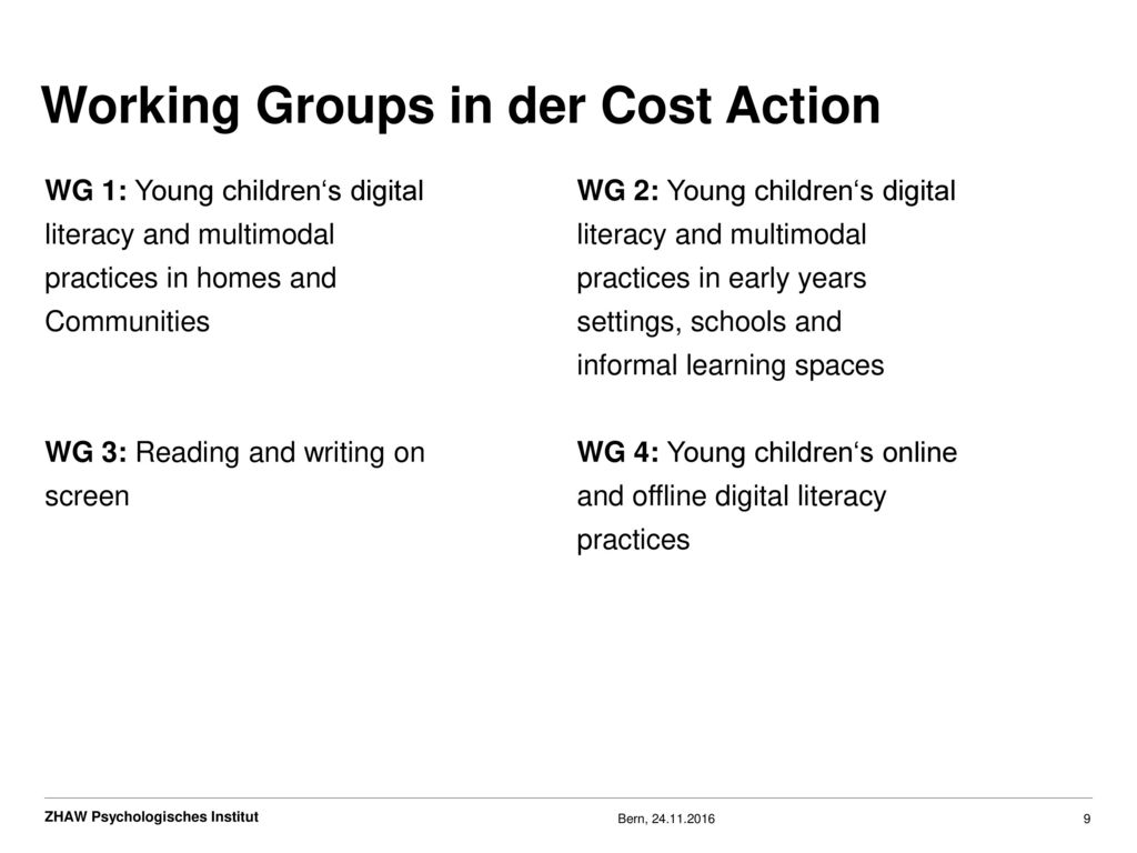 Working Groups in der Cost Action