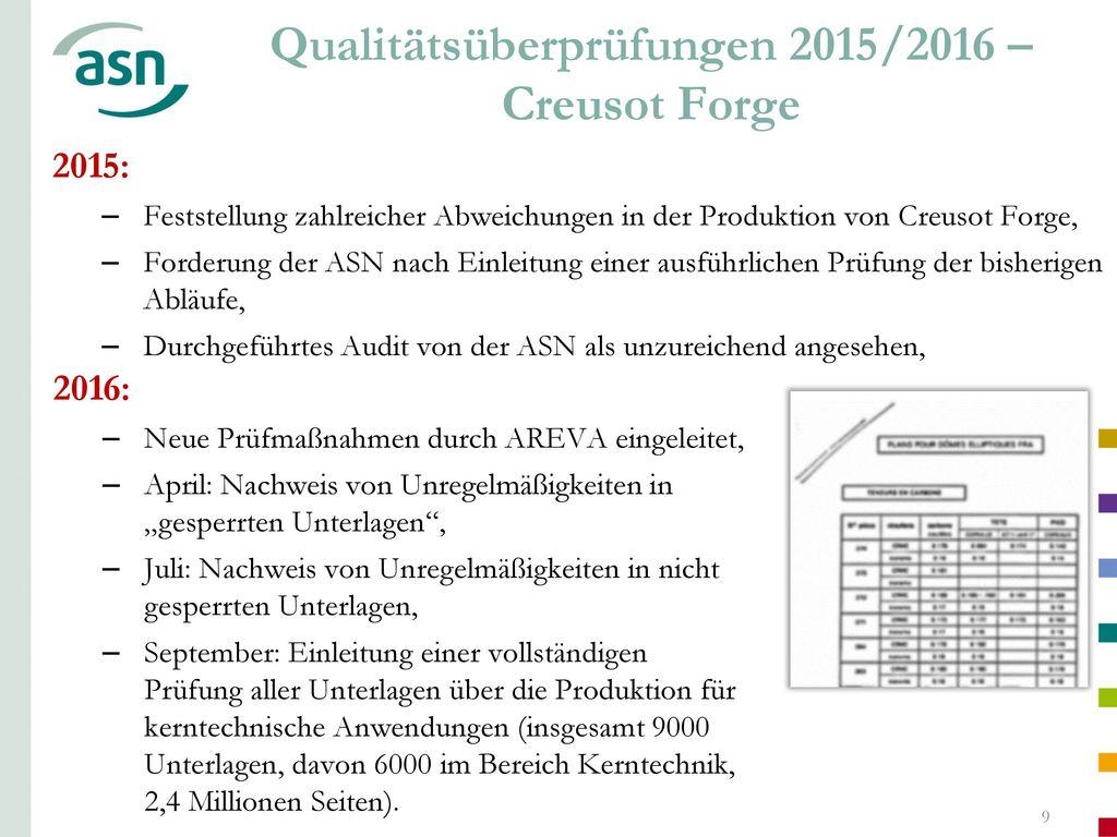 Qualitätsüberprüfungen 2015/2016 – Creusot Forge