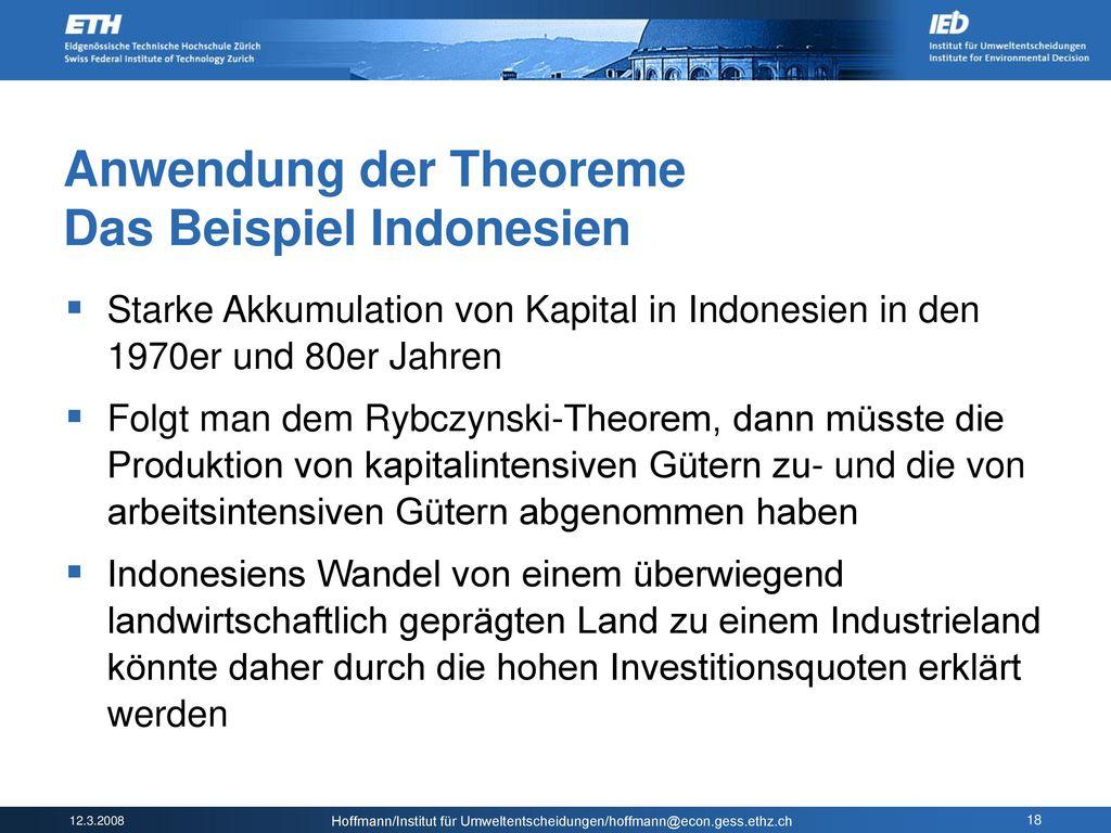 Anwendung der Theoreme Das Beispiel Indonesien