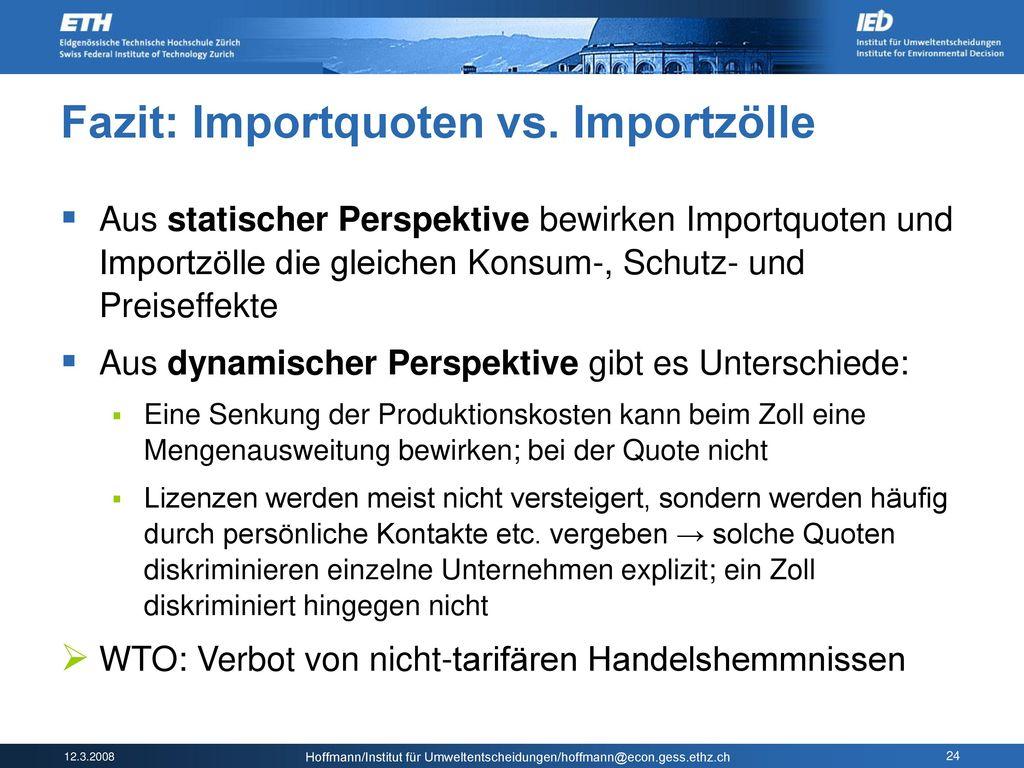 Fazit: Importquoten vs. Importzölle