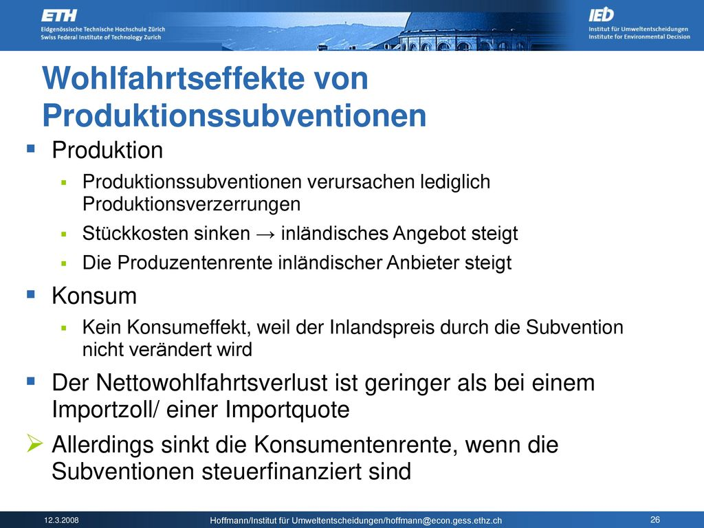 Wohlfahrtseffekte von Produktionssubventionen