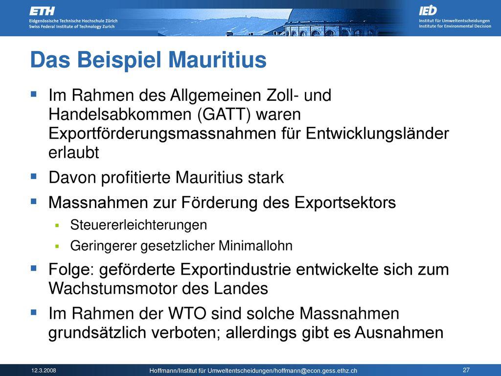 Das Beispiel Mauritius