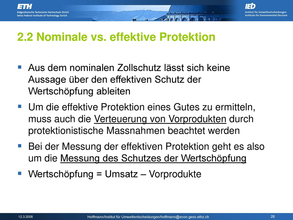2.2 Nominale vs. effektive Protektion