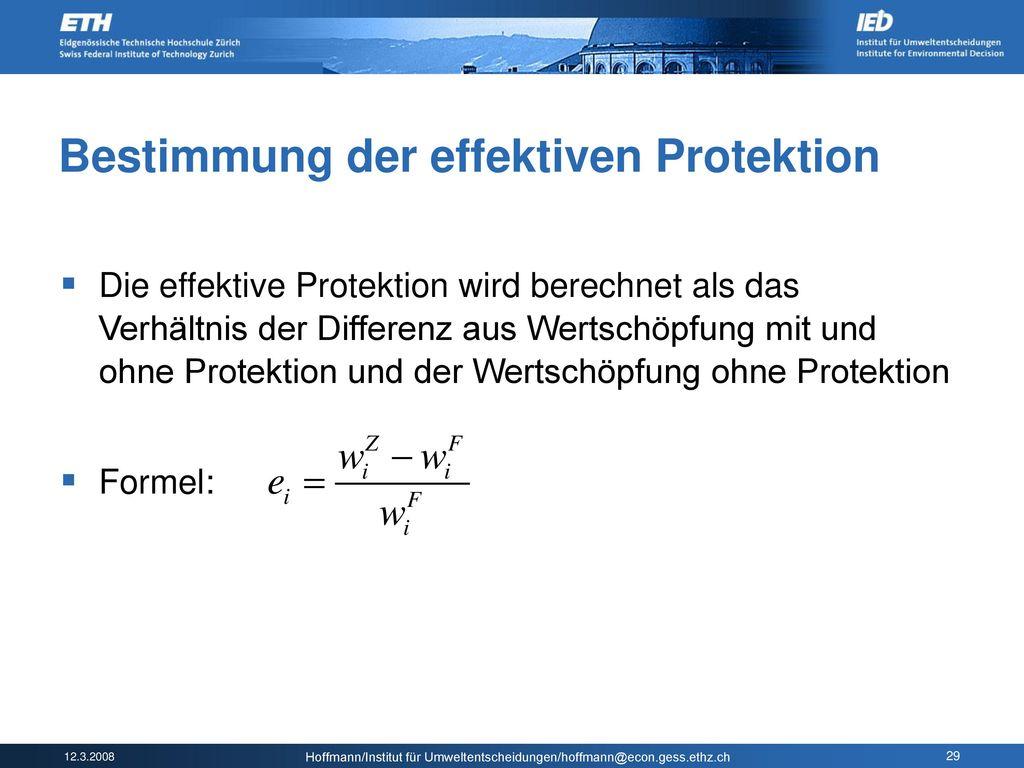 Bestimmung der effektiven Protektion