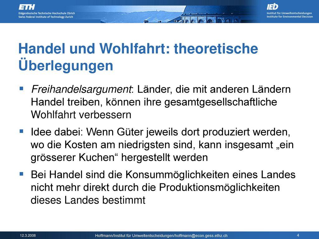 Handel und Wohlfahrt: theoretische Überlegungen