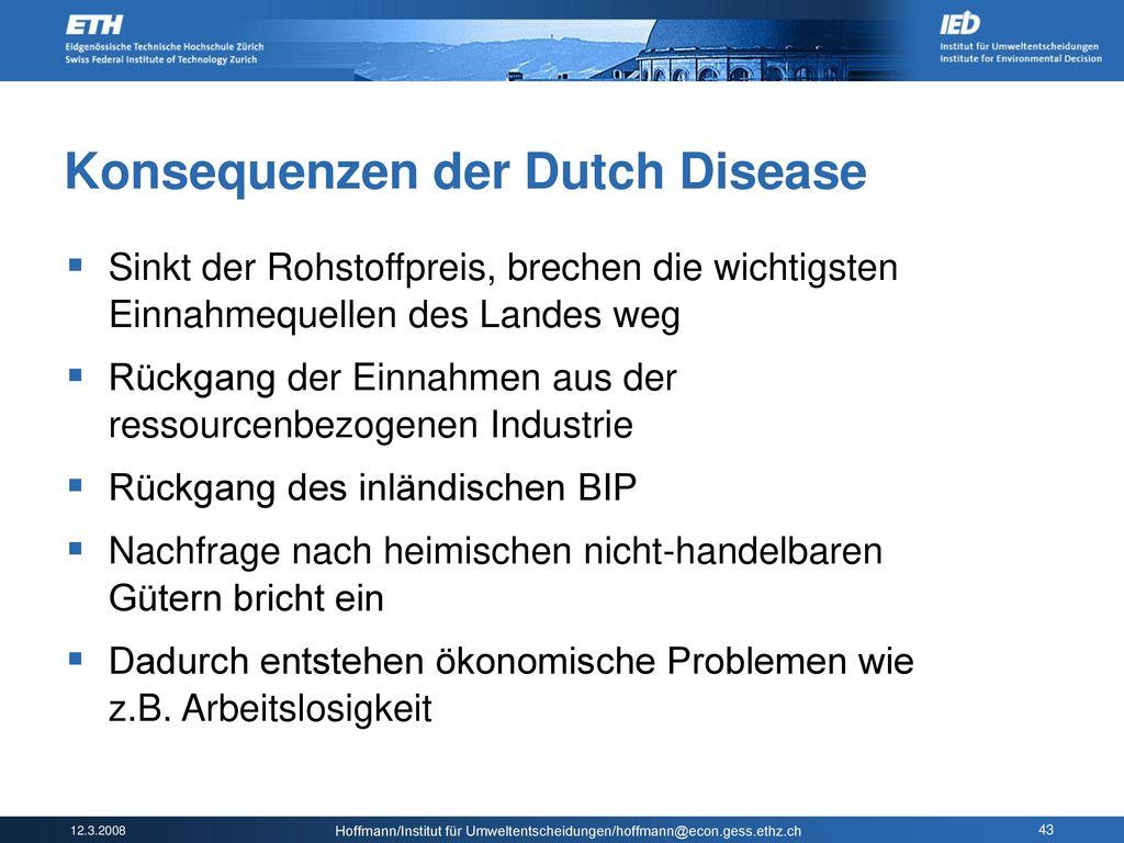 Konsequenzen der Dutch Disease