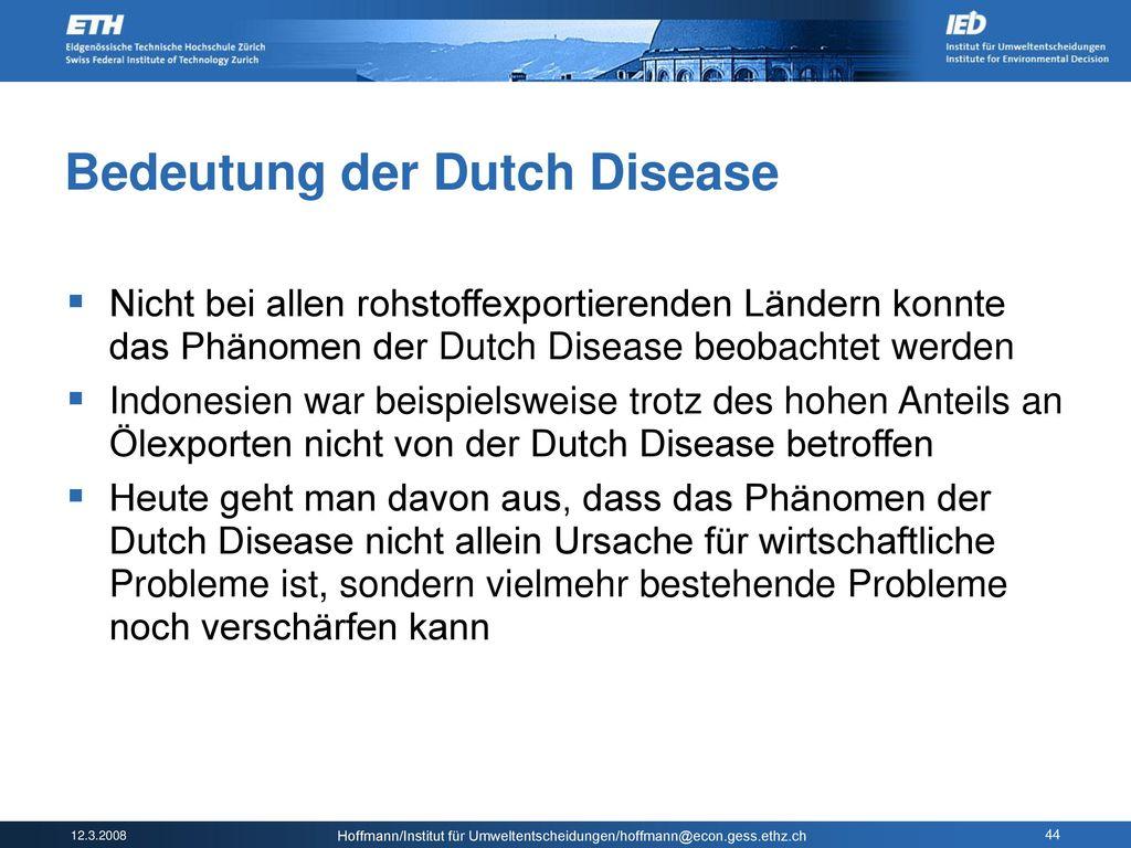 Bedeutung der Dutch Disease