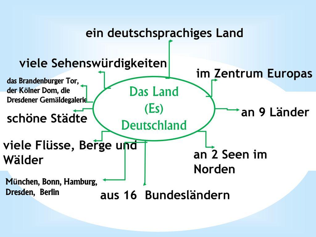 Das Land (Es) Deutschland ein deutschsprachiges Land