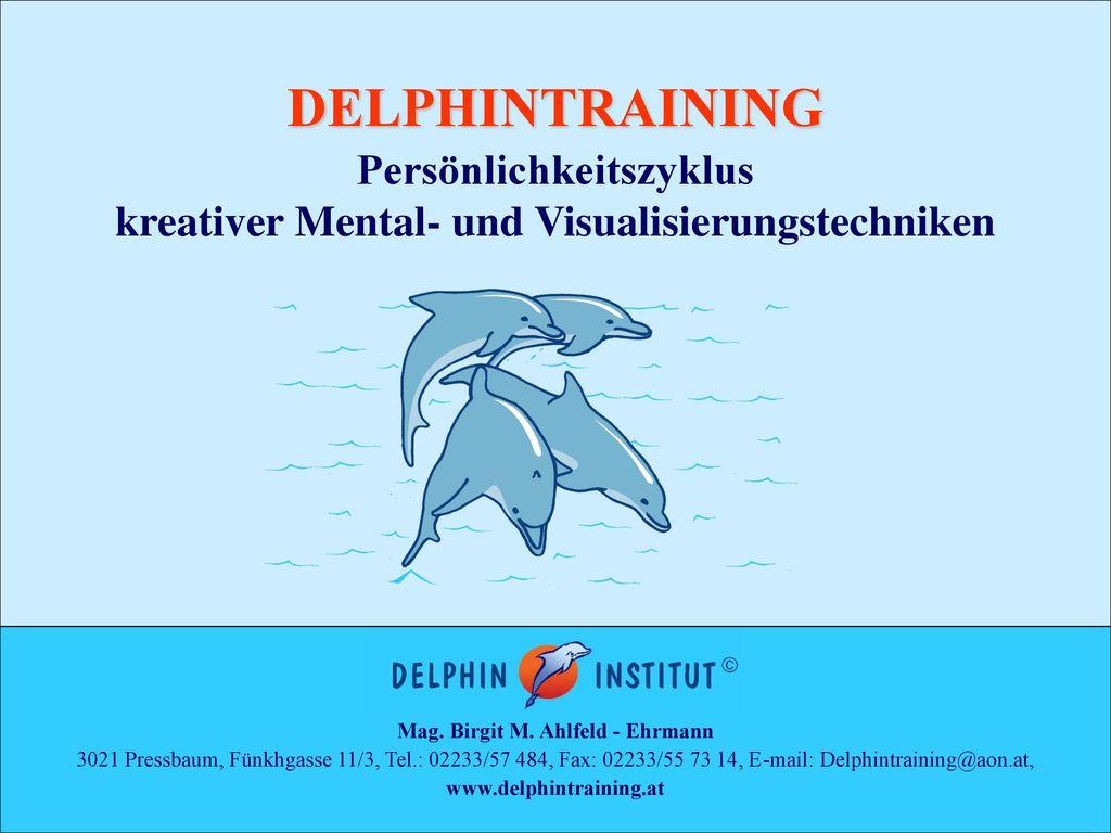 DELPHINTRAINING Persönlichkeitszyklus kreativer Mental- und Visualisierungstechniken. Mag. Birgit M. Ahlfeld - Ehrmann.