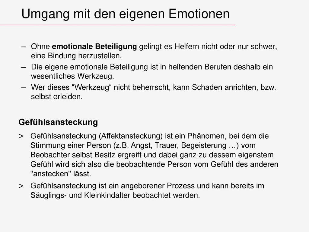 Umgang mit den eigenen Emotionen