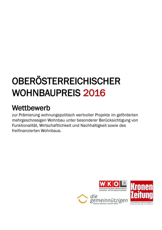 OBERÖSTERREICHISCHER WOHNBAUPREIS 2016