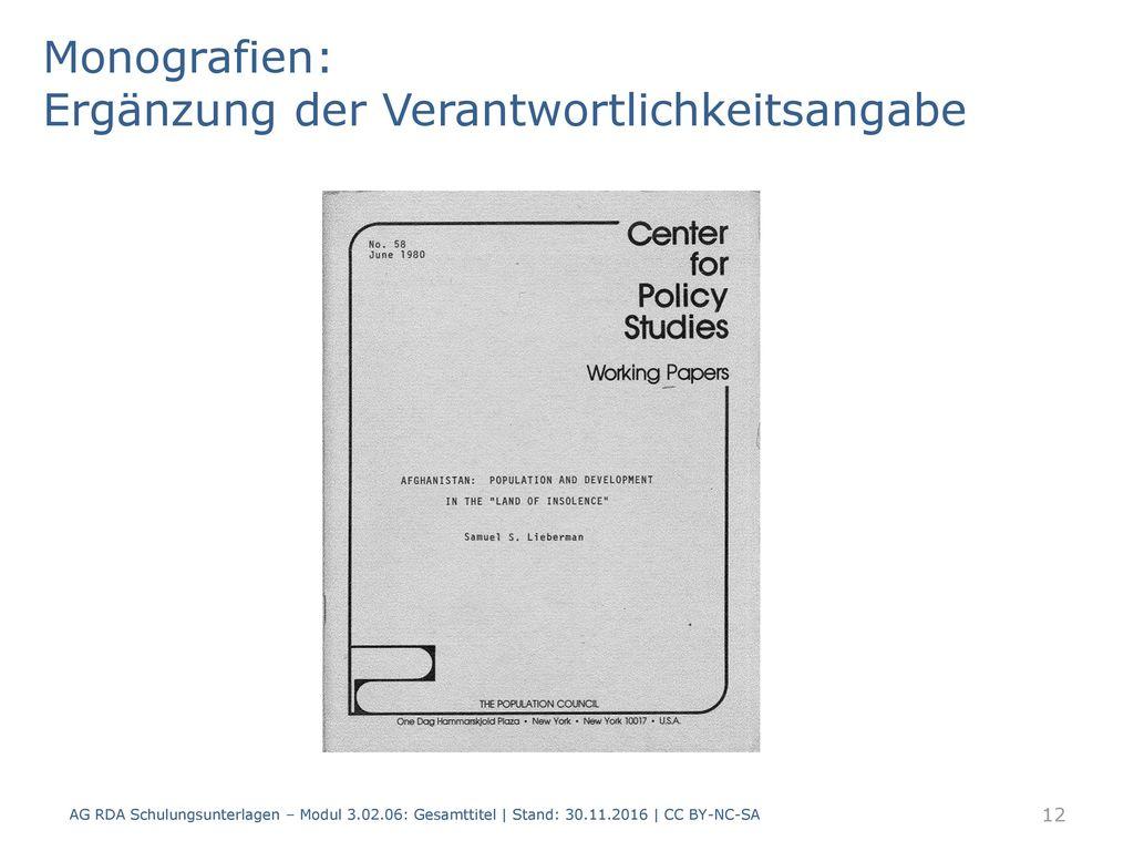 Monografien: Ergänzung der Verantwortlichkeitsangabe