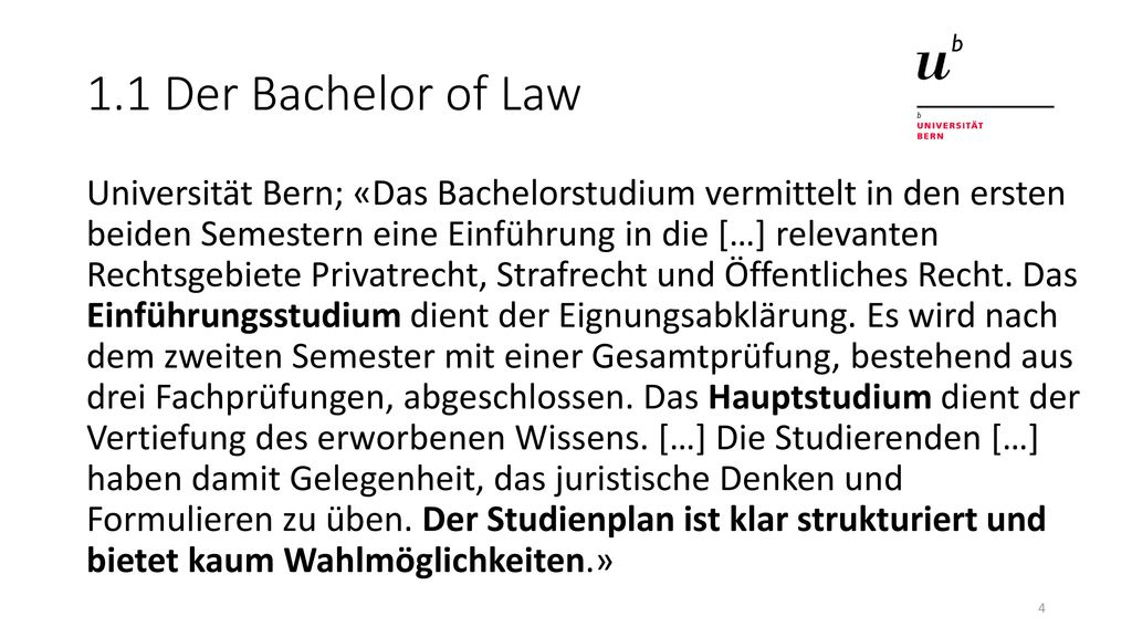 1.1 Der Bachelor of Law