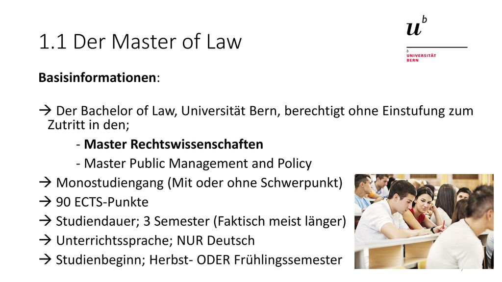 1.1 Der Master of Law Basisinformationen: