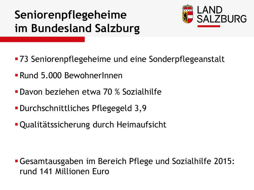 Seniorenpflegeheime im Bundesland Salzburg