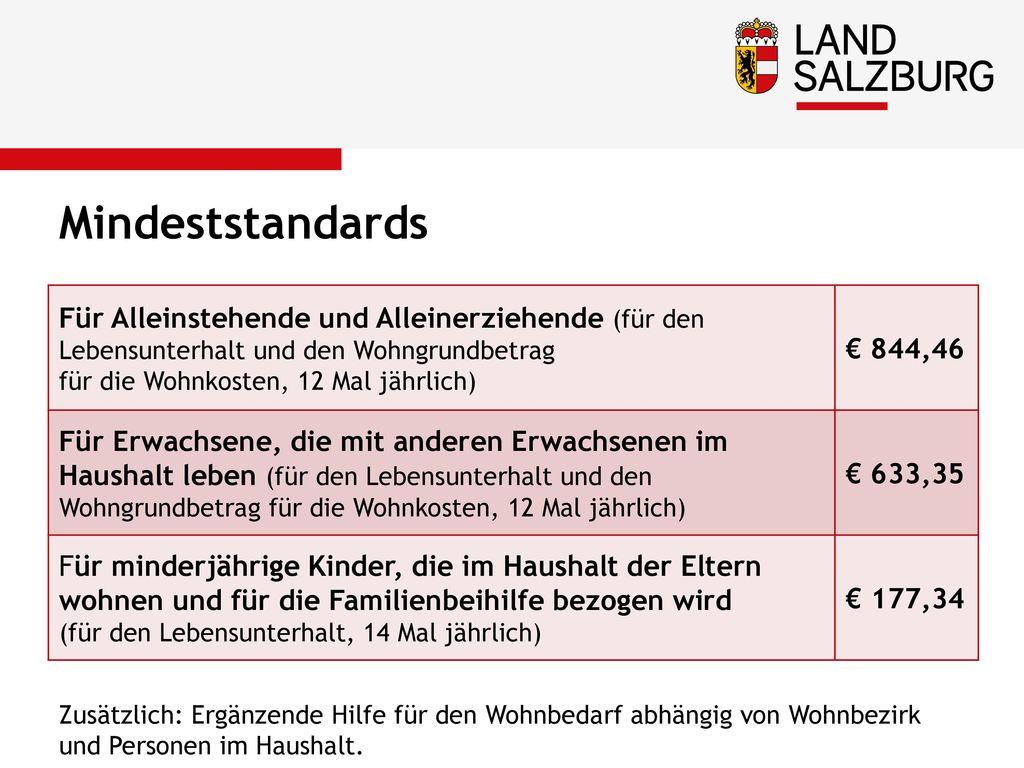 Mindeststandards Für Alleinstehende und Alleinerziehende (für den Lebensunterhalt und den Wohngrundbetrag.
