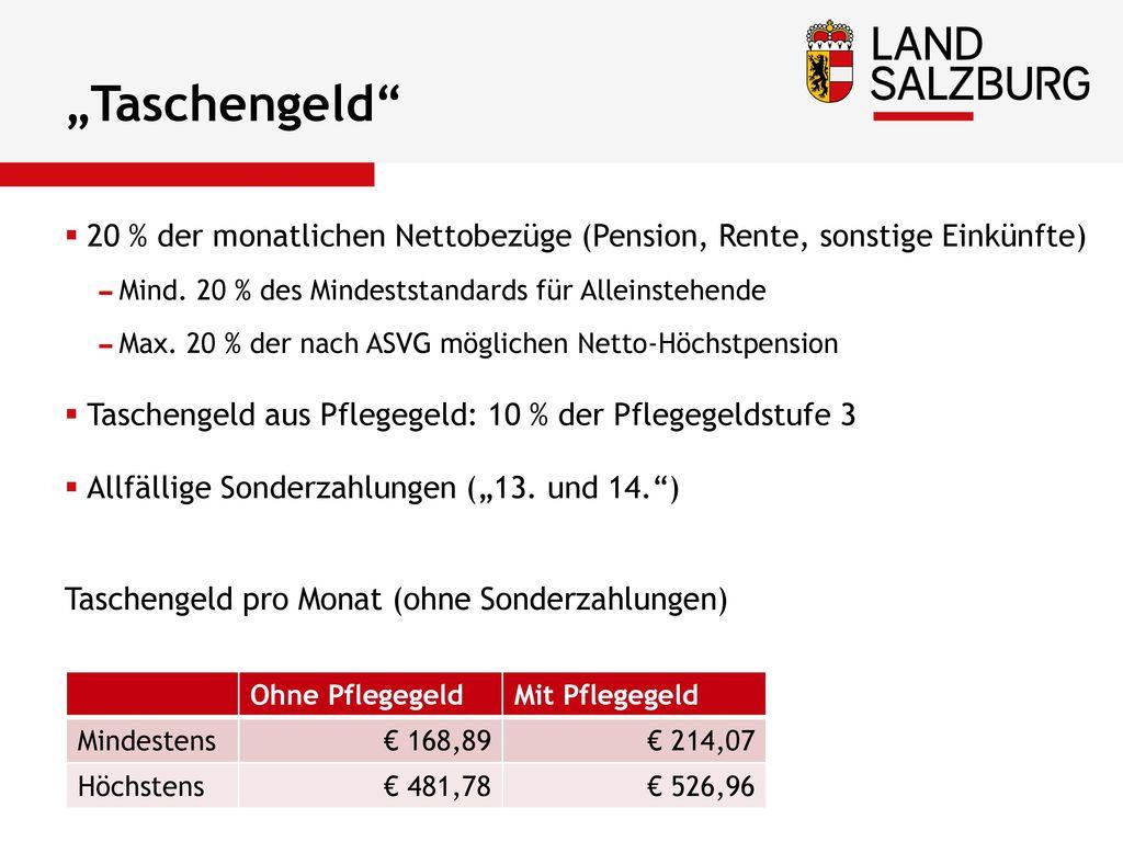 """""""Taschengeld 20 % der monatlichen Nettobezüge (Pension, Rente, sonstige Einkünfte) Mind. 20 % des Mindeststandards für Alleinstehende."""