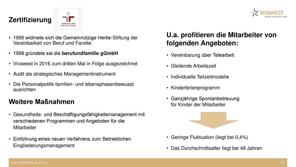 U.a. profitieren die Mitarbeiter von folgenden Angeboten: