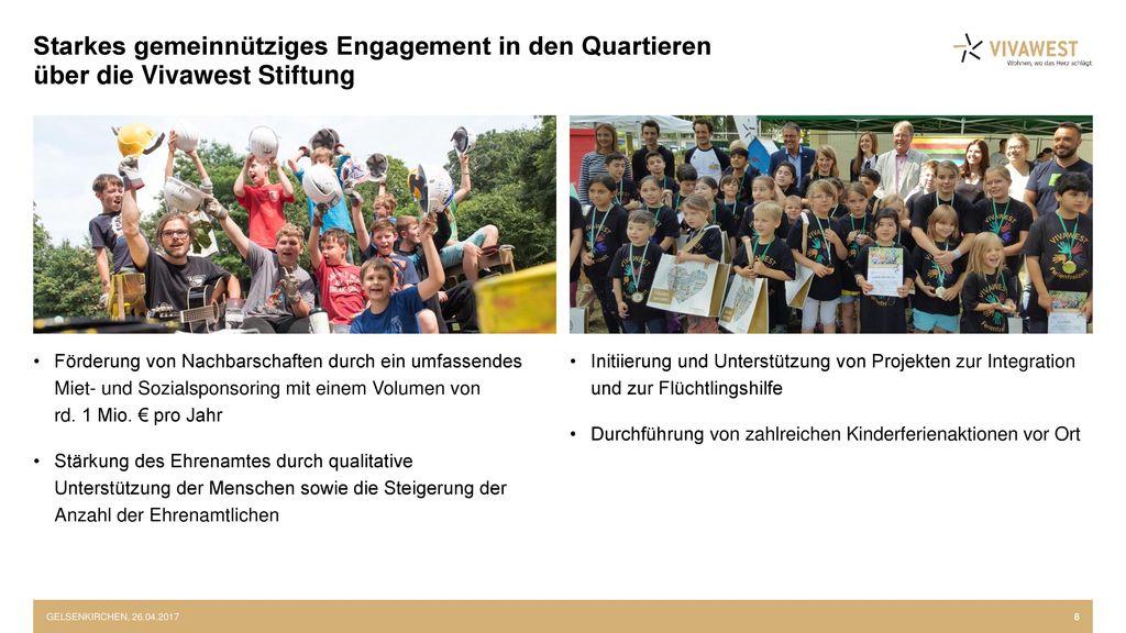 Starkes gemeinnütziges Engagement in den Quartieren über die Vivawest Stiftung