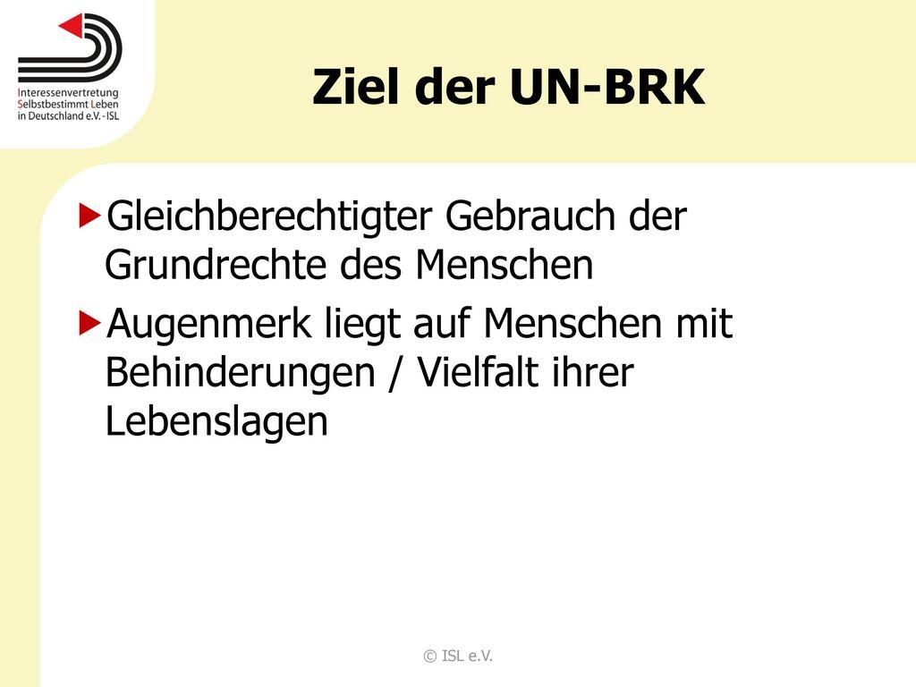 Ziel der UN-BRK Gleichberechtigter Gebrauch der Grundrechte des Menschen.