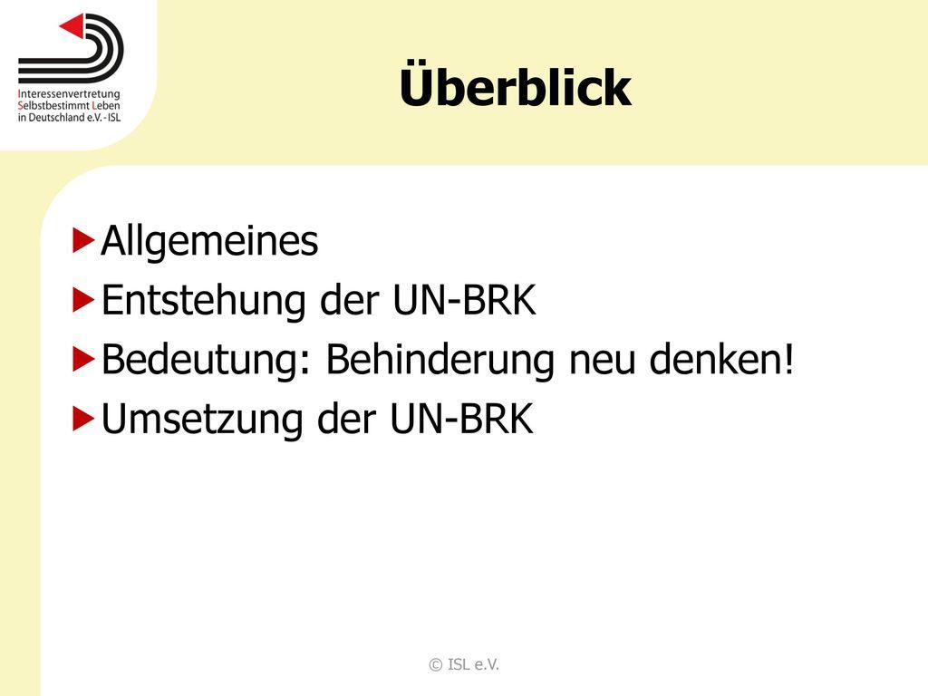 Überblick Allgemeines Entstehung der UN-BRK