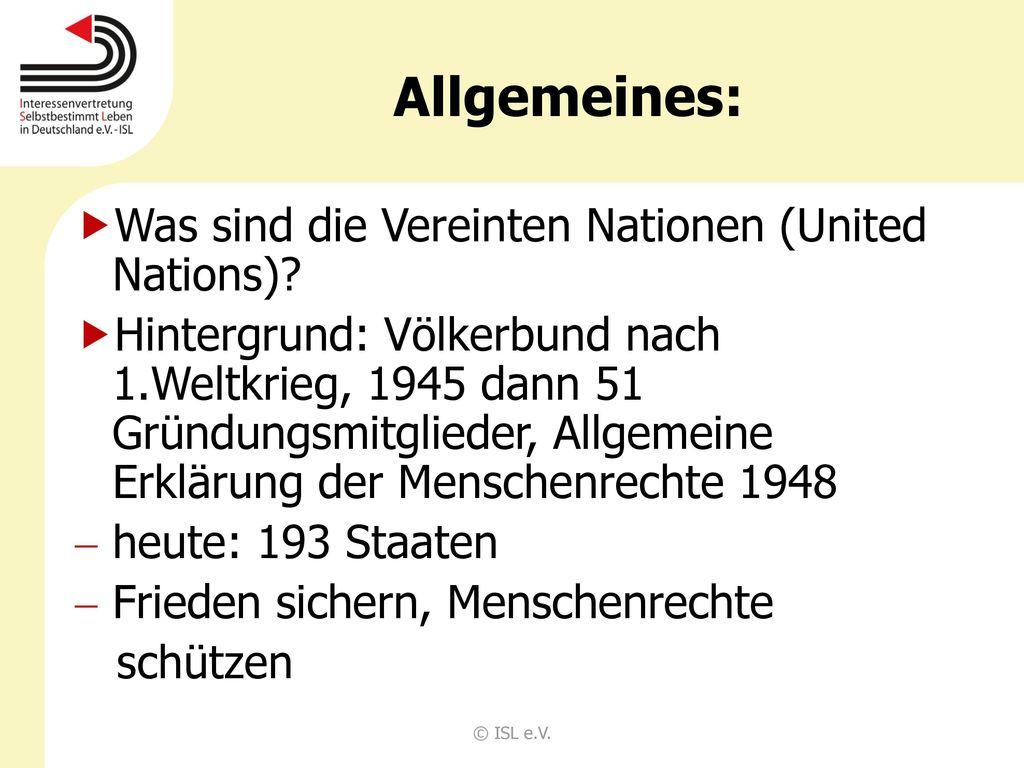 Allgemeines: Was sind die Vereinten Nationen (United Nations)