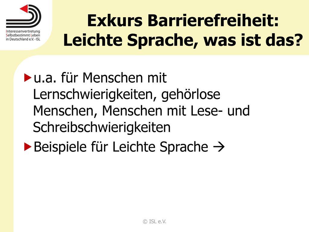 Exkurs Barrierefreiheit: Leichte Sprache, was ist das