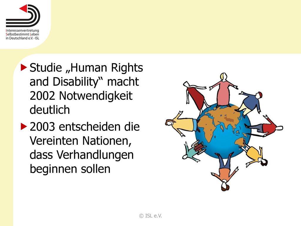"""Studie """"Human Rights and Disability macht 2002 Notwendigkeit deutlich"""