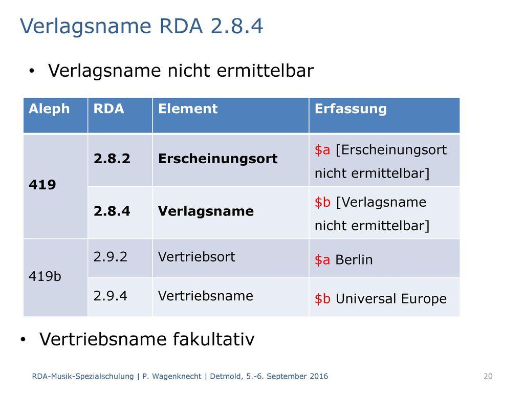 Verlagsname RDA 2.8.4 Verlagsname nicht ermittelbar