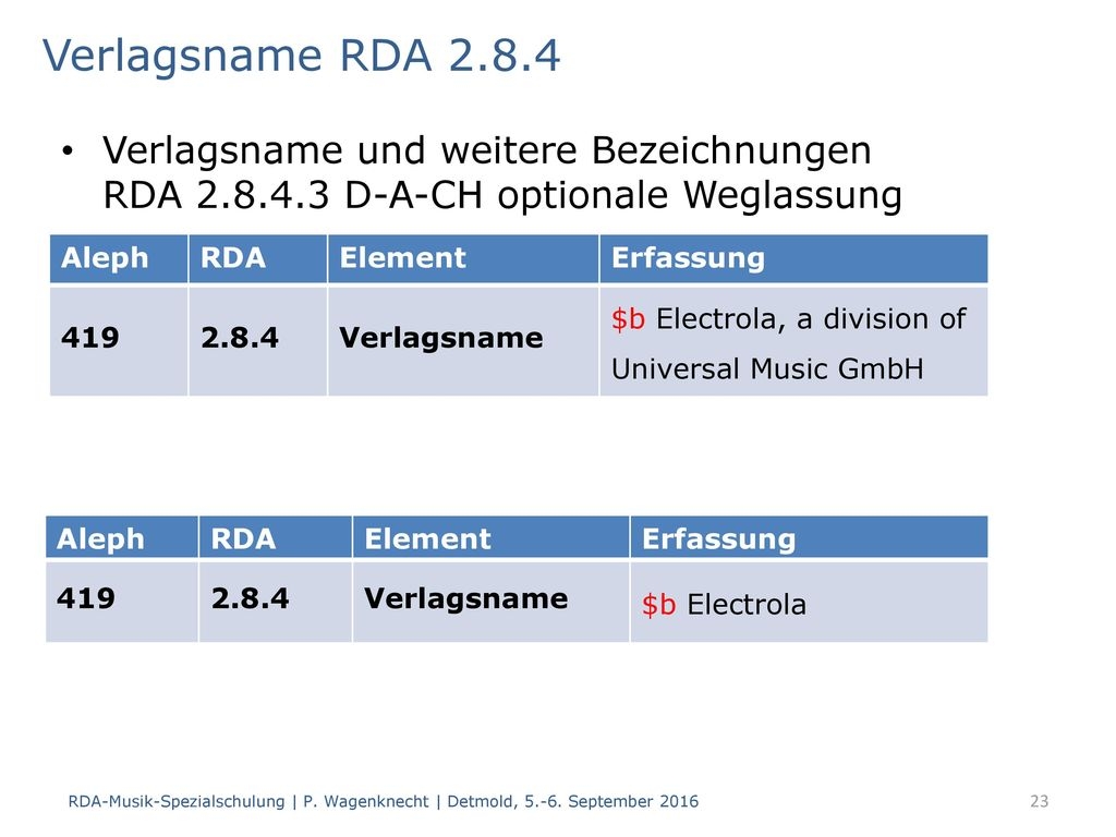 Verlagsname RDA 2.8.4 Verlagsname und weitere Bezeichnungen RDA 2.8.4.3 D-A-CH optionale Weglassung.