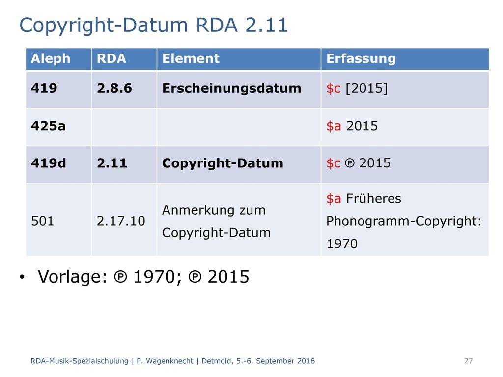 Copyright-Datum RDA 2.11 Vorlage: ℗ 1970; ℗ 2015 Aleph RDA Element