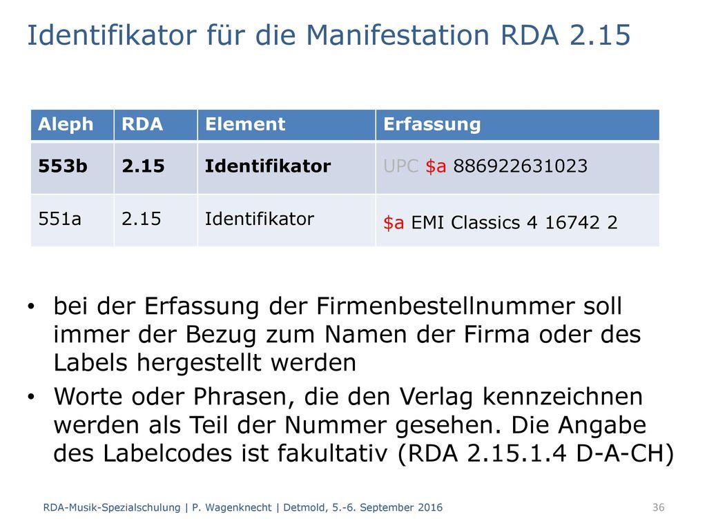 Identifikator für die Manifestation RDA 2.15