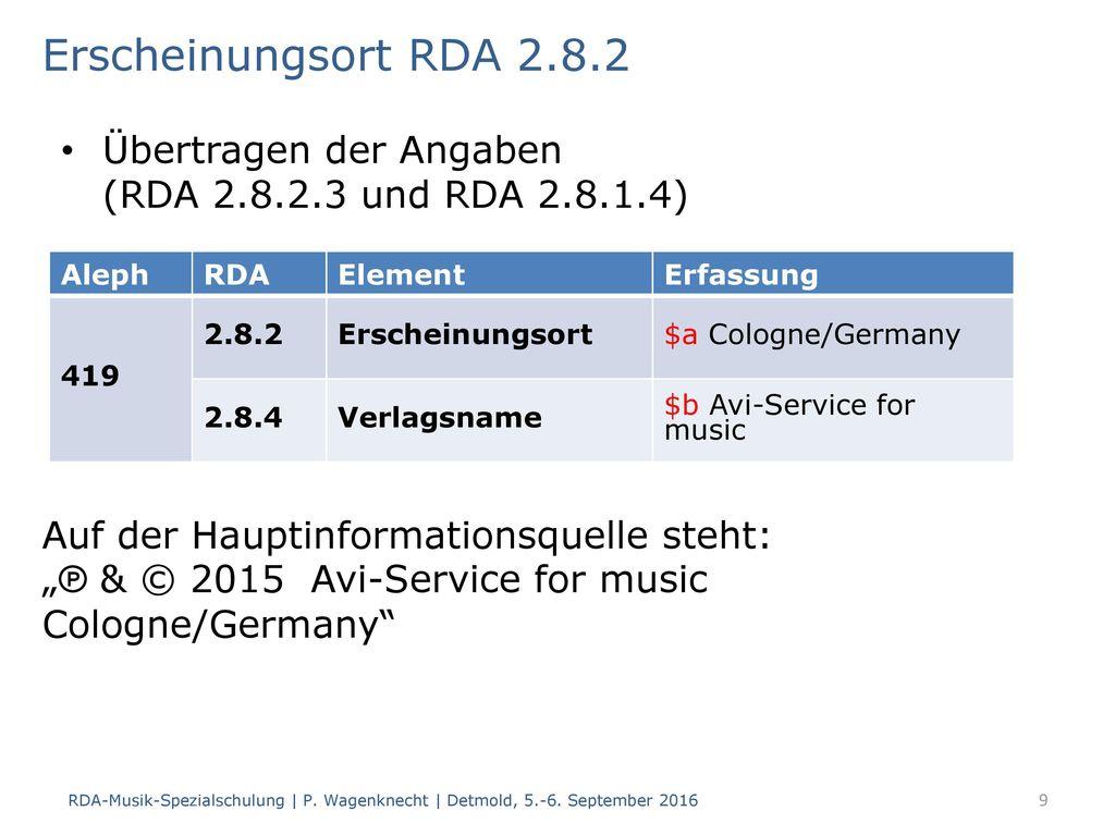 Erscheinungsort RDA 2.8.2 Übertragen der Angaben (RDA 2.8.2.3 und RDA 2.8.1.4) Aleph. RDA. Element.