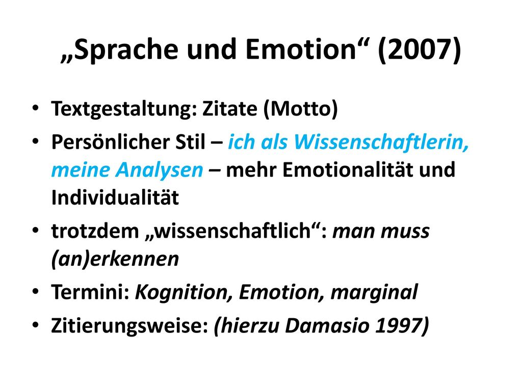 """Sprache und Emotion (2007)"