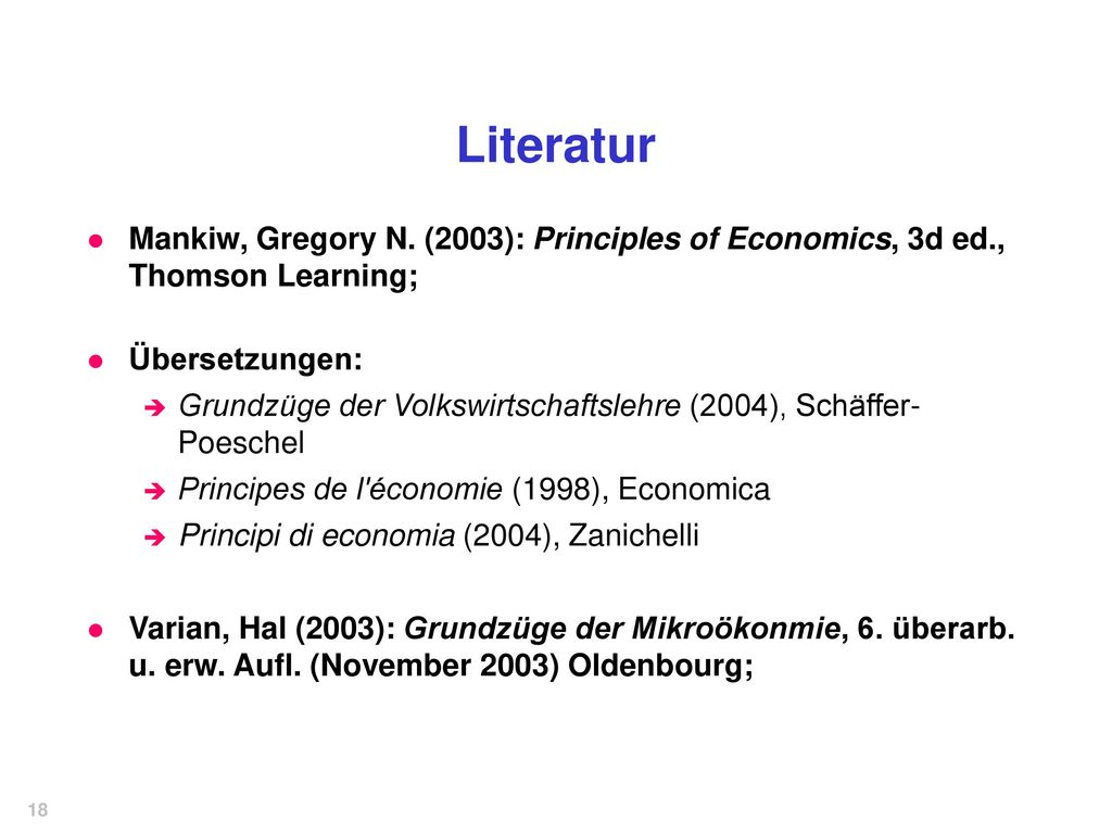 Literatur Mankiw, Gregory N. (2003): Principles of Economics, 3d ed., Thomson Learning; Übersetzungen: