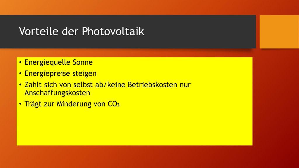 Vorteile der Photovoltaik