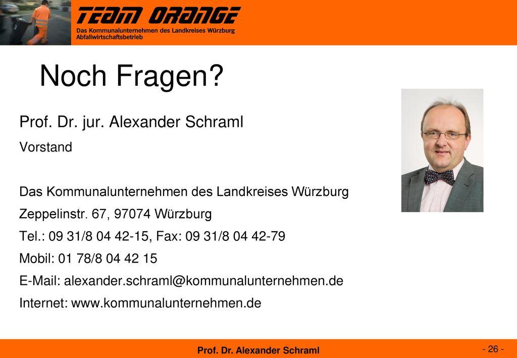 Noch Fragen Prof. Dr. jur. Alexander Schraml Vorstand