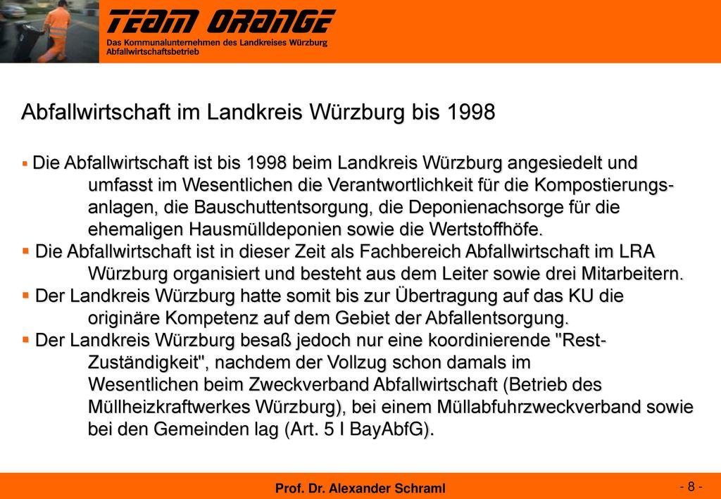 Abfallwirtschaft im Landkreis Würzburg bis 1998