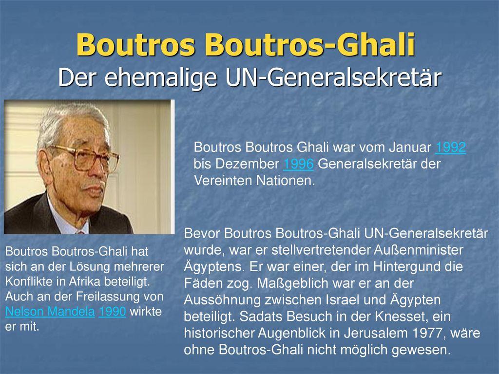 Boutros Boutros-Ghali Der ehemalige UN-Generalsekretär