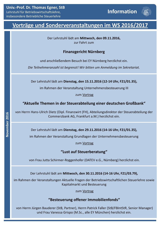 Vorträge und Sonderveranstaltungen im WS 2016/2017