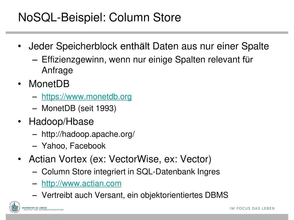 NoSQL-Beispiel: Column Store