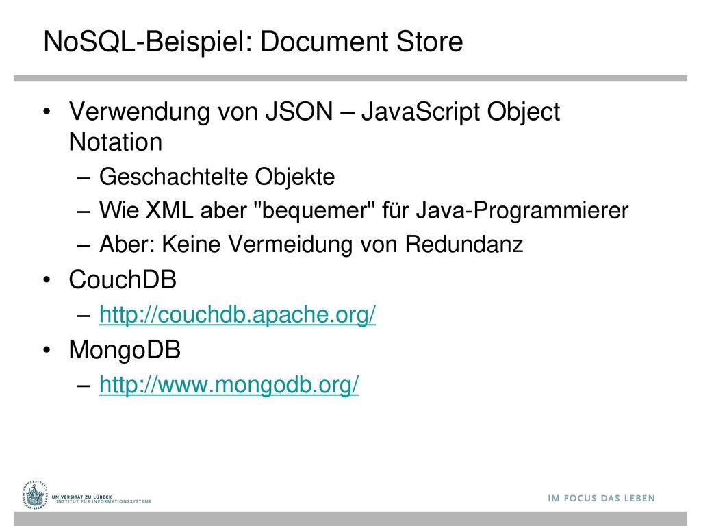 NoSQL-Beispiel: Document Store
