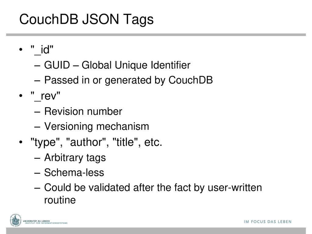 CouchDB JSON Tags _id _rev type , author , title , etc.