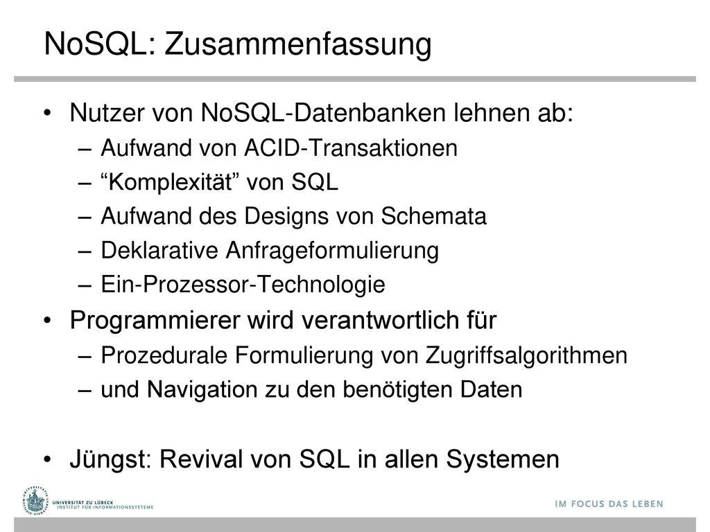 NoSQL: Zusammenfassung