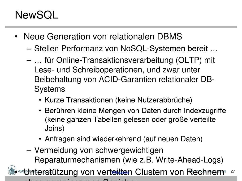 NewSQL Neue Generation von relationalen DBMS